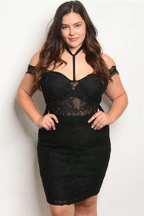 black lace plus size cocktail dress