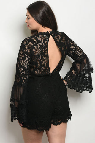 Black Lace Bell Sleeve Plus Size Romper