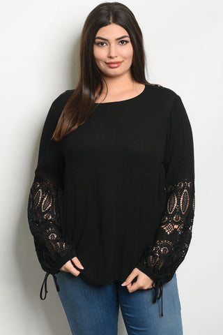 Black Lace Plus Size Tunic Top