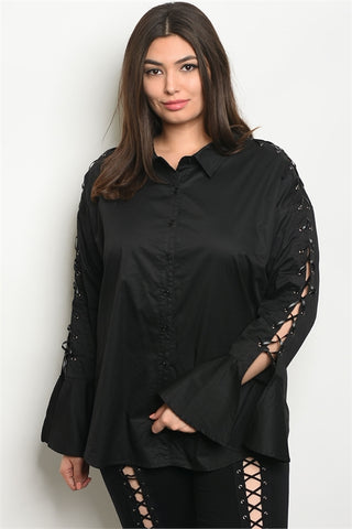Black Long Laced Bell Sleeve Plus Size Blouse