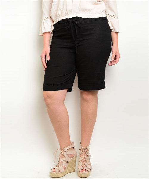 Women's Plus Size Black Linen Shorts