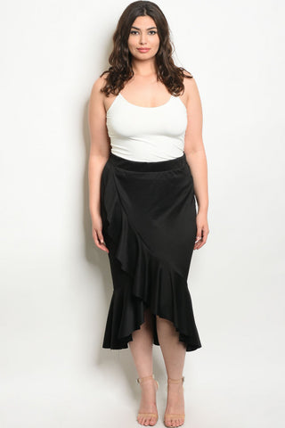 Black Mermaid Cut Plus Size Skirt