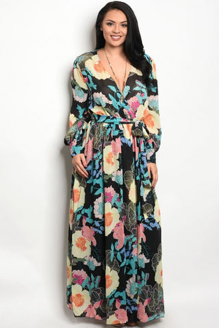 Black Multi Color Floral Print Chiffon Maxi Dress