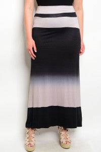 Women's Plus Size Black and Mocha Ombre Maxi Skirt