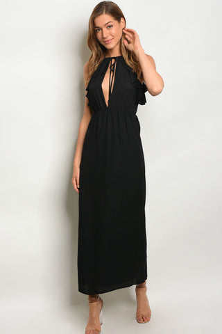 Black Peek A Boo Maxi Dress with Ruffled Accents