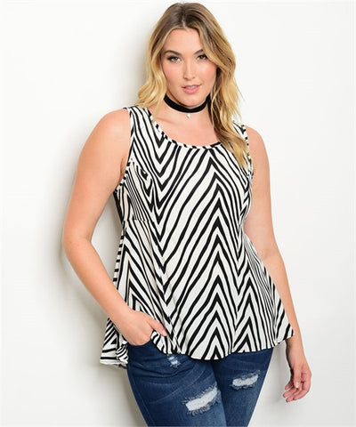 Women's Plus Size Black and White Stripe Lace Back Peplum Top
