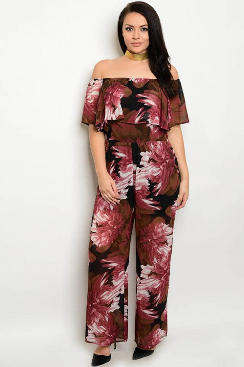 Black Wine Red and Pink Off Shoulder Plus Size Jumpsuit