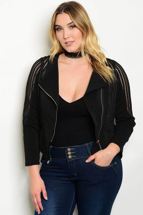 Black Plus Size Blazer with Long Mesh Sleeves