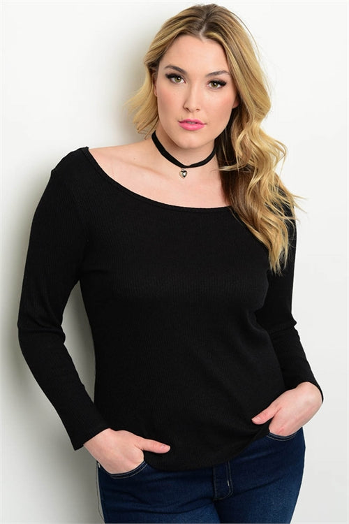 Black Long Sleeve Plus Size Top with Corset Back