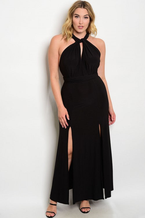 Women's Plus Size Long Black Halter Evening Gown Dress