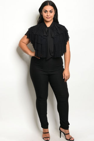 Black Plus Size Stretch Jumpsuit with Ruffled Accents