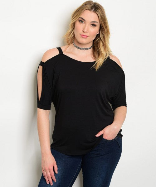 Women's Plus Size Black Knit 3/4 Sleeve Exposed Shoulder Top