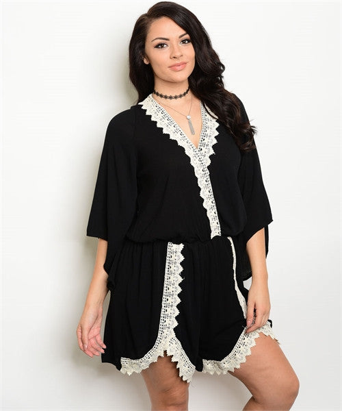 Women's Plus Size Black and White Romper with Lace Accents