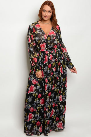 Black Red and Gray Floral Chiffon Plus Size Maxi Dress