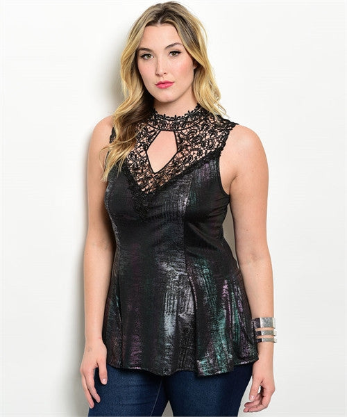 Women's Plus Size Black Shimmer Lace Accent Peplum Top