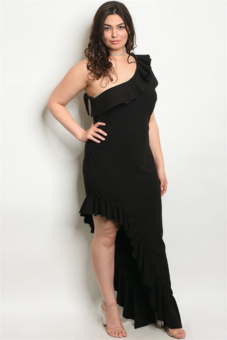 Black One Shoulder Ruffled Plus Size Gown