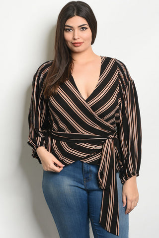 Black Stripe Plus Size Wrap Top
