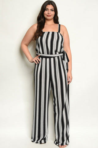 Black Striped Plus Size Jumpsuit
