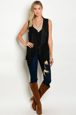 Misses Black Suede Vest with Belt