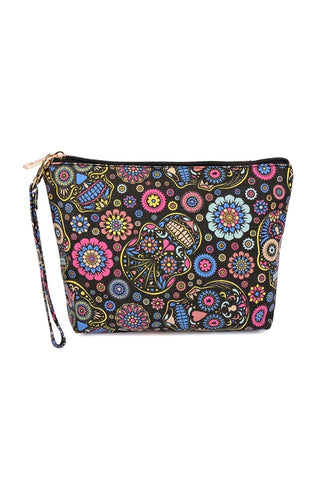 Black Sugar Skull Art Print Cosmetic Bag