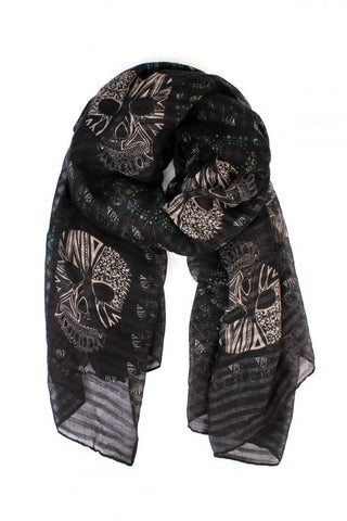 Black Oblong Sugar Skull Scarf