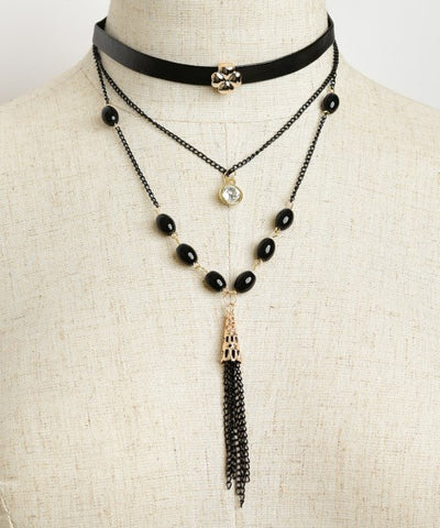Black Choker and Tassel Necklace Set