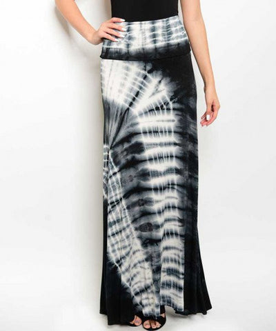 Misses Black and White Tie Dye Maxi Skirt