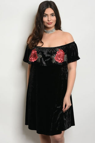 Black Velvet Cold Shoulder Plus Size Dress