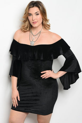 Black Velvet Cold Shoulder Bodycon Dress