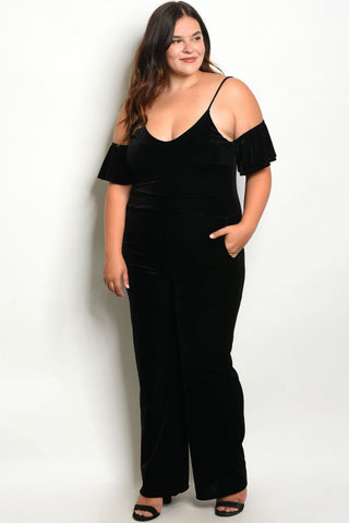Black Velvet Cold Shoulder Plus Size Jumpsuit