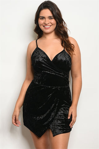 Black Velvet Plus Size Romper