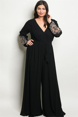 Black Wide Leg Lace Accent Plus Size Jumpsuit