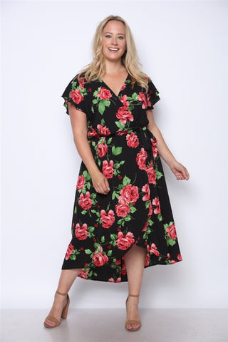 Black Floral Print High Low Plus Size Maxi Dress