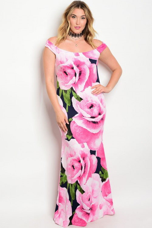 Women's Plus Size Navy Blue and Pink Floral Evening Gown