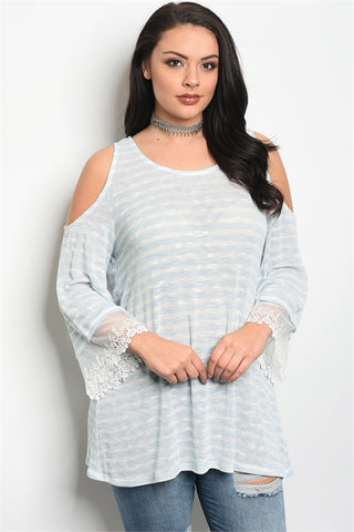 Blue and White Stripe Plus Size Cold Shoulder Lace Accent Top