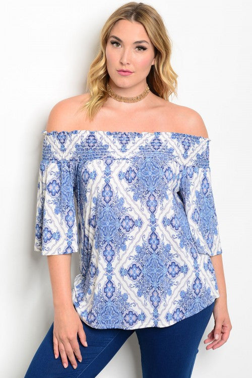 Women's Plus Size Blue and White Bell Sleeve Tunic Top