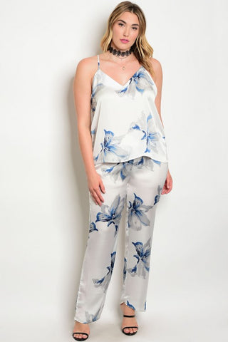 Ivory and Blue Floral 2pc Loungewear Set Plus Size