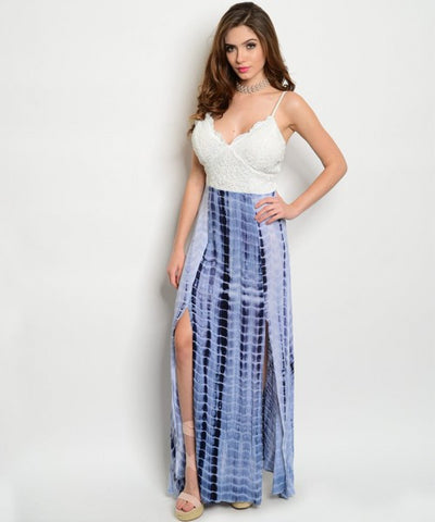 Misses Navy Blue and White Lace Tie Dye Maxi Dress
