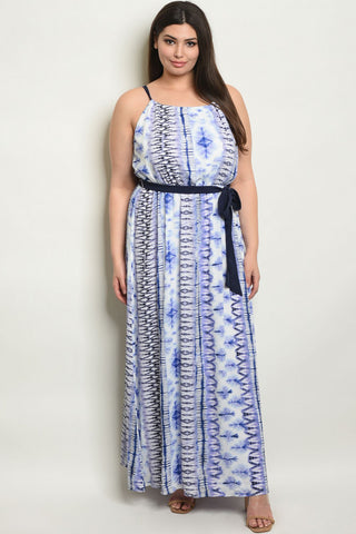 Blue and White Tie Dye Plus Size Maxi Dress
