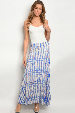 Blue and White Tribal Print Maxi Skirt