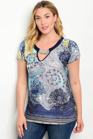 Women's Plus Size Navy Blue and Yellow Jeweled Top