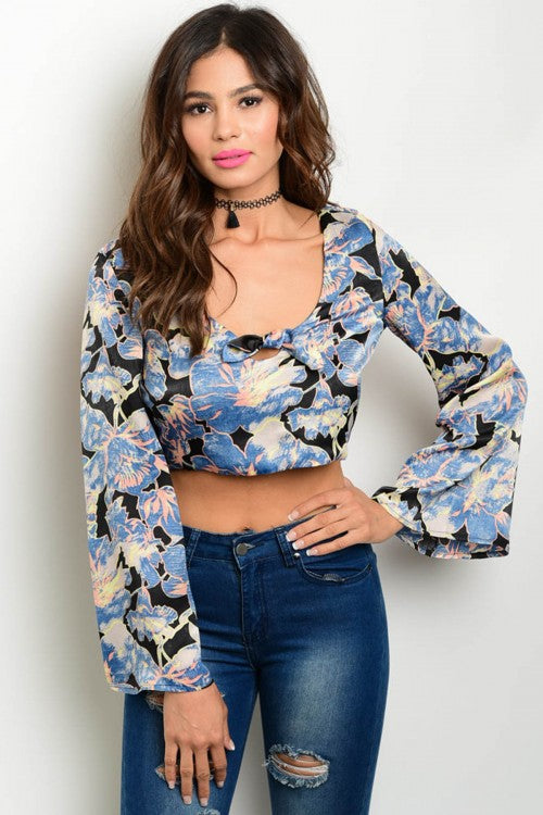 Misses Blue Floral Bell Sleeve Boho Crop Top