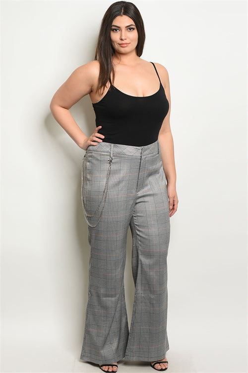 blue wide leg checkered plus size pants