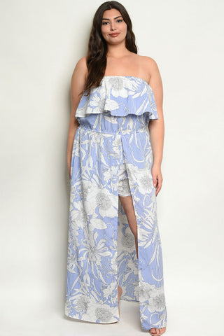Blue Cold Shoulder Floral Plus Size Romper Maxi Dress