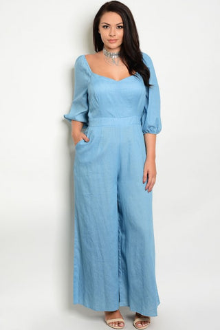 Blue Denim Inspired Plus Size Jumpsuit