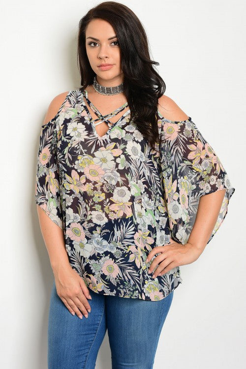 Women's Plus Size Navy Blue Floral Exposed Shoulder Top