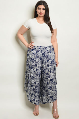 Blue and White Floral Plus Size Capri Pants