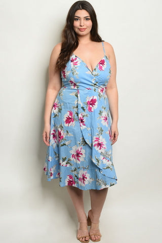 Blue Floral Plus Size Sundress