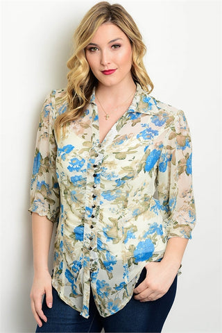 Blue and White Floral Button Up Plus Size Top