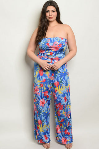 Blue Floral Strapless Plus Size Jumpsuit